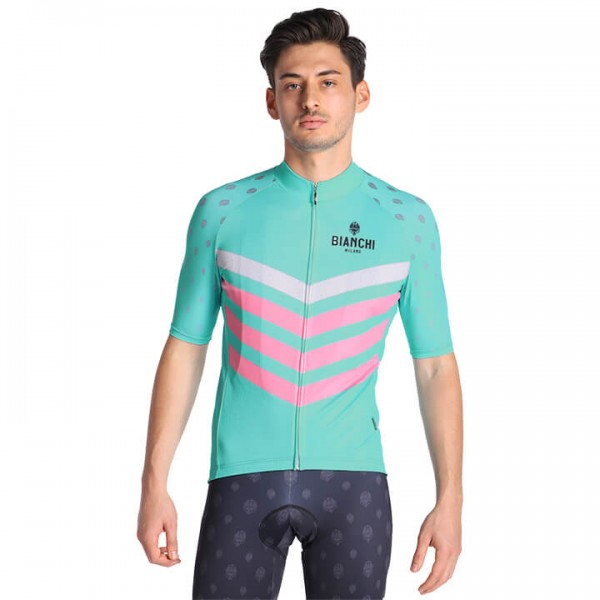 BIANCHI MILANO Nicandro Short Sleeve Jersey white - green - fuchsia - multicoloured