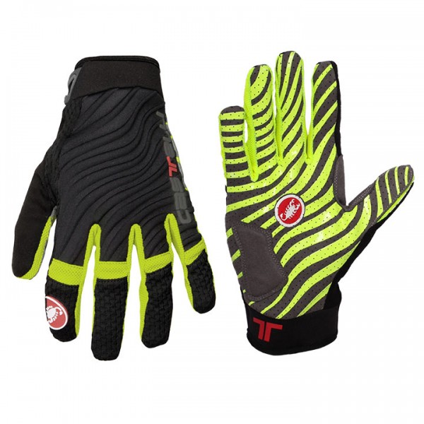 CASTELLI CW 6.0 Cross Full Finger Gloves, black-neon yellow