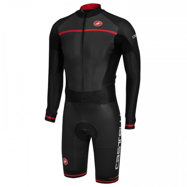 CASTELLI CX 2.0 Race Bodysuit, charcoal grey-black-red grey - black - red - multicoloured