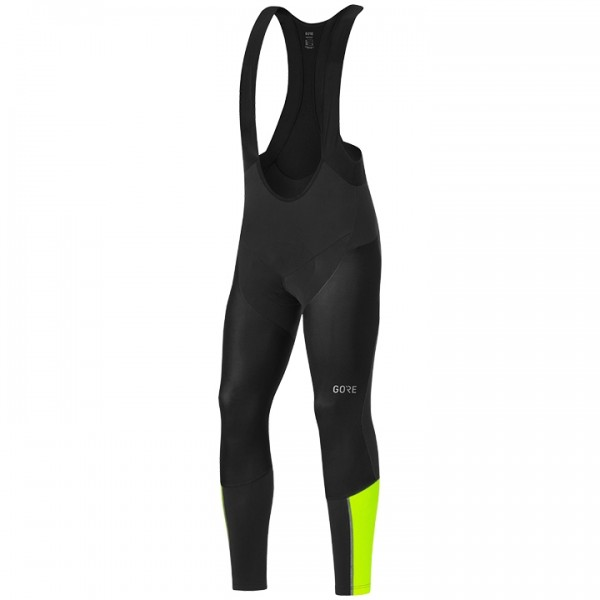 GORE C7 Gore Windstopper Partial Pro+ Bib Tights neon yellow - black