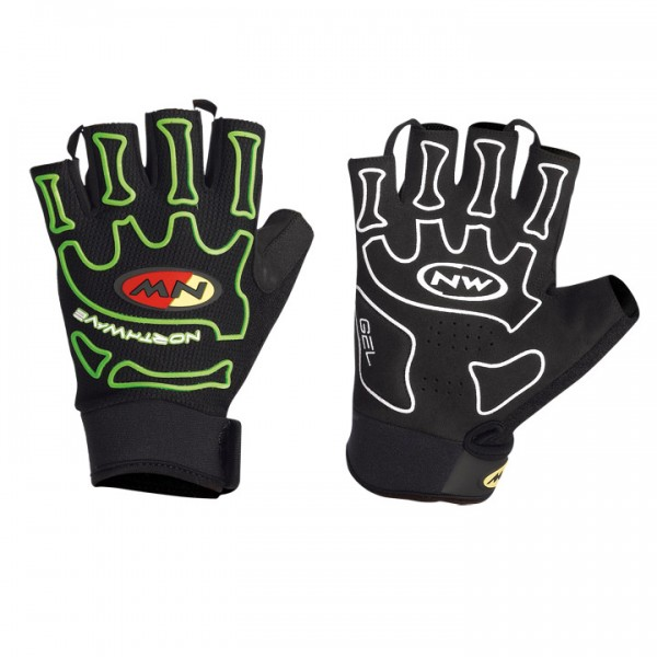 NORTHWAVE Cycling Gloves Skeleton light black-yellow