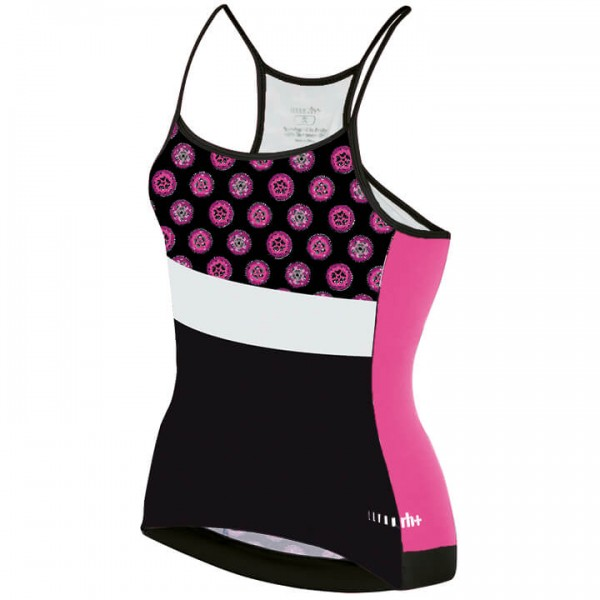 rh+ Preppy Spaghetto Cycling Tank Top white - black - neon-pink - multicoloured