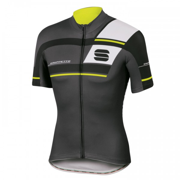 SPORTFUL Gruppetto Pro Team Short Sleeve Jersey, charcoal grey-black-neon yellow